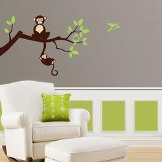 Tree Branch Monkey Nursery Vinyl Wall Decals Tree by Lulukuku