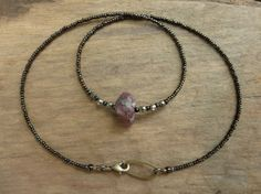 Rough Ruby Necklace unique July birthstone necklace by ArtifactsEtCetera