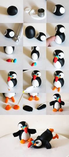 Puffin Tutorial for Fondant by Cake Dutchess (Also would work for polymer clay)(Diy Step Dad) Easy Polymer Clay, Polymer Clay Figures, Polymer Clay Animals, Fondant Figures, Fimo Clay, Polymer Clay Projects, Polymer Clay Charms, Clay Crafts, Art Crafts