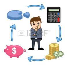 Budget, Saving, Calculate, Invest Circle - Business Cartoon Vectors photo