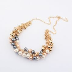 Colorful ABS #Plastic #Pearl & Zinc Alloy #Necklace Jewelry, Awesome style.