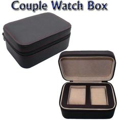 Free shipping SUPER HIGH QUALITY! Retail PU material Black Color Zipper Style Exquisite Couple Watch Packaging Box