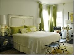 50 Gorgeous Green and White Bedrooms - The Glam Pad.  Love the simplicity of this monogrammed headboard.