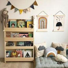 Baby Bookshelf, Kids Bookcase, Bookshelves, Tidy Books, Toddler Rooms, Toddler Playroom, Woodland Nursery Decor, Kids Corner, Kids Bedroom