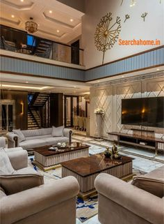 These high-end villas in Surat offer the perfect solution- with their elaborate gold panelling and clever exaggeration of available space. Living Room Sofa Design, Home Room Design, Home Interior Design, Luxury Home Designs, Interior Modern, Design Kitchen, Kitchen Interior, Mansion Interior, Luxury Homes Interior