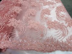 Heavy Hand Beaded Coral Embroidered Flowers With Precious Stones Sequins Bridal Flower Mesh Dress Wedding By The Yard # Paper Flowers Diy, Fabric Flowers, Saree Draping Styles, Beaded Lace Fabric, Saree Blouse Patterns, Wedding Fabric, Bridal Flowers, Pink Lace, Embroidered Flowers