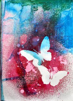 hmmm how to do the butterflies? Looks like some nice masking to me, or maybe a really clean resist.