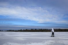 Skier on an ice-covered lake in Minnesota.
