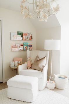 Neutral Girly Perfection - Project Nursery The perfect place for nursery book shelves - next to your Baby Bedroom, Nursery Room, Girl Nursery, Girl Room, Baby Bedding, Chair For Nursery, Nursery Side Table, Bedding Sets, Nursery Chairs