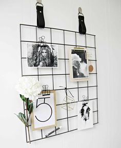 Grid Mood Board with Leather Straps by H and G Designs. Black Grid Mood Board / memo Board with Black Leather Straps. Black Room Design, Leather Strap Shelves, Bedroom Table, Kids Study, Black Rooms, Shelving Systems, Getting Organized, My Room, Home Accessories