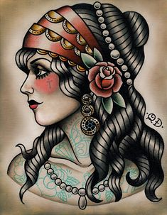 Great Neo-Traditional tattoo flash by Quyen Dinh #tattooflash #neotraditional More                                                                                                                                                                                 Más