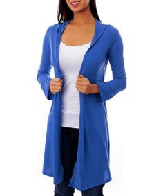 Royal Blue Open Hooded Duster Sweater
