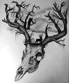 Amazing deer skull with an artistic story of deer hunting on it. Style: Black and Gray. Color: Gray. Tags: Beautiful, Awesome, Meaningful, Great