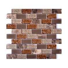 Instant Mosaic Upscale Designs Random Sized Porcelain, Natural Stone, Metal, Glass, Ceramic Mosaic Tile in Taupe and Brown & Reviews | Wayfair