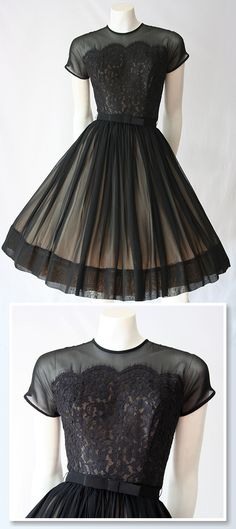 ~Black original 1950s chiffon and lace dress by Saba Jrs of California~