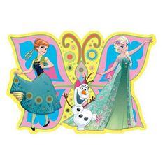 Deze placemat van Frozen heeft een afbeelding van Elsa, Anna en Olaf en is gemaakt van plastic. Dit is de vlindervorm variant. Afmeting: 43 x 30 cm.