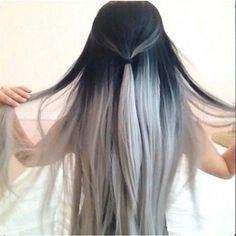 ombre black roots silvery grey 7A human virgin brazillian hair... (545 BRL) ❤ liked on Polyvore featuring beauty products, haircare, hair styling tools, hair, hairstyles, hair styles, beauty and cabelo