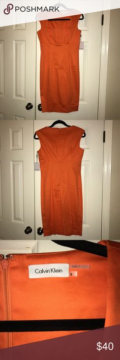 """CALVIN KLEIN Dress NWT Calvin Klein pleated bust shift dress in orange. Size 6. Measures 30"""" armpit to hem. This dress is meant to be more fitted but I am a size 2 in Calvin Klein and this is a size 6, I did my best to pose in a way that resembles more of how it's supposed to fit Calvin Klein Dresses"""