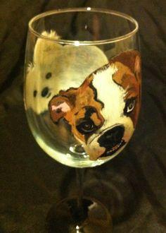 DOUBLE TROUBLE DOG PORTRAIT WINE GLASS – www.thepaintedflower