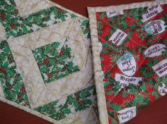 Holiday ribbons quilted table runner by NannyGrans on Etsy