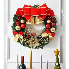 WEKITY Holiday Christmas Ornament Wreath 1217Inch Christmas Front Door Decorative Wreath with Small Ornaments Tinkle BellBallbowknot for Indoor and Outdoor Party 3035cm ** Click on the image for additional details.