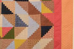 Barnraising Log Cabin Quilt   From a unique collection of antique and modern quilts at https://www.1stdibs.com/furniture/folk-art/quilts/