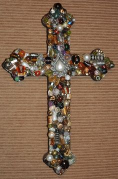 "$40.00 Handmade 12"" Jeweled Wooden Cross. Made from new and vintage repurposed jewelry. Shopjaykay on www.etsy.com"