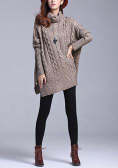 Coffee wool sweater women sweater loose sweater long sleeve sweater coat sweater winter autumn spring --SW117