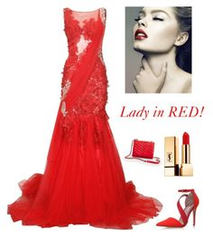 """""""Lady in RED """" by kotnourka ❤ liked on Polyvore featuring Miss KG, Talbots and Yves Saint Laurent"""
