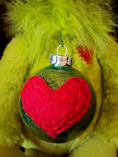 We'll Hot Glue Your Bulbs, Together!: Holiday Ornaments Part 1 – Thriftfulness Grinch Ornaments, Hallmark Ornaments, Holiday Ornaments, Holiday Crafts, Christmas Decorations, Office Decorations, Grinch Christmas Party, Grinch Who Stole Christmas, Christmas Love