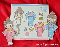 Kawaii Yukata Girl Paper Doll by JapanLover.Me
