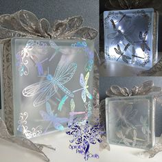 Dragonflies Vinyl Design Overlaid Glass Block with fairylights, creating twinkles of illuminated magic. Images show the Rainbow Silver Finish These blocks are perfect as an occasional light, as a nightlight for your home, or a gift for friends or family. Lovingly handmade to order in