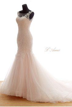 Beautiful Classical Mermaid Blush /Soft pink Lace Wedding door LAmei