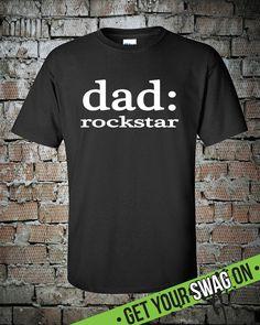 Rockstar Dad T Shirt Superhero Tee Fathers Day by SwagArtDesigns