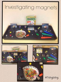 Investigating magnets in the sensory tray. Science Area, Primary Science, Science Activities For Kids, Stem Science, Kindergarten Science, Preschool Classroom, Science Lessons, Teaching Science, Stem Activities