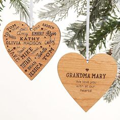 The Close To Her Heart Message Personalized Wood Ornament is perfect for grandparents and large families. This ornament features up to 22 names engraved into a heart shape on one side, and any title and special message on the reverse side. Wood Ornaments, Personalized Christmas Ornaments, Xmas Ornaments, Christmas Crafts, Perfect Mother's Day Gift, Great Gifts For Mom, Personalized Garden Stones, Personalized Puzzles, Christmas Spectacular