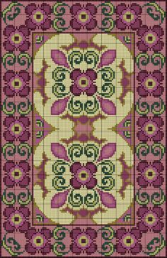 Purple Floral Rug of Cross Stitch Borders, Cross Stitch Flowers, Cross Stitch Charts, Cross Stitch Designs, Cross Stitching, Cross Stitch Embroidery, Embroidery Patterns, Cross Stitch Patterns, Cross Stitch Pictures