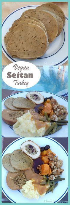 Homemade vegan seitan turkey recipe with no tofu, no soy, no dairy, no meat and no birds hurt! Vegan Recipes No Soy, Vegan Meat Substitutes, Seitan Recipes, Vegan Foods, Vegan Dishes, Turkey Recipes, Turkey Seitan Recipe, Vegetarian Thanksgiving, Thanksgiving Sides