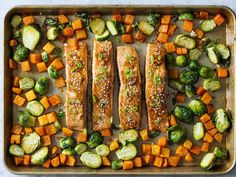 Sheet Pan Honey Soy Salmon Dinner | Get speedy family-friendly meals cooked, and avoid the dreaded dish washing, by using this collection of sheet pan dinners. Everything from meat loaf to roasted chicken to jambalaya can be cooked with just a single sheet pan, making your weeknight easier and tastier. The best part is that fun dinners like Greek Chicken Nachos or Roasted Cauliflower Pizza will please kids and adults alike.