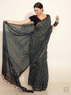 FabIndia // Silk- Cotton Maheswari Ajrakh Print Sari <3