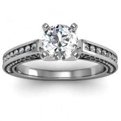 Pave & Channel Diamond Engagement Ring set in 18k White Gold  In stockSKU: S1060-18W
