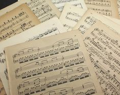 8.5x11 Beautiful Antique Classical Sheet Music No Lyrics 50 Vintage Sheet Music Pages Music for Artists and Crafters Old Book Pages.