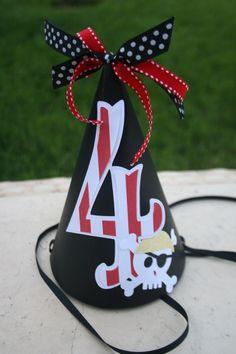 Pirate Skull Happy Birthday Party Hat. $12.50 each, via Etsy.