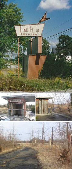 """There's not much left of Mount Orab, Ohio's Lake Drive-In, besides its fabulous Fifties """"Lake Theater"""" sign and the mouldering wooden ticket shack (images via Darren Snow and Lowand77)"""