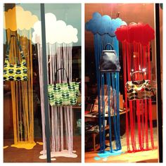 We've adorned the clouds in our Tilde windows with a few favorites bags. Clouds/rain by @darcydubose.