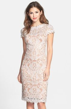 Tadashi Shoji Illusion Yoke Lace Sheath Dress at #Nordstrom