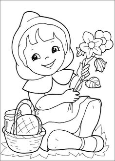 9 Little Red Riding Hood printable coloring pages for kids. Find on coloring-book thousands of coloring pages. Flower Coloring Sheets, Fall Coloring Pages, Cartoon Coloring Pages, Coloring Pages To Print, Free Coloring, Coloring Pages For Kids, Coloring Books, Art Disney, Disney Pixar