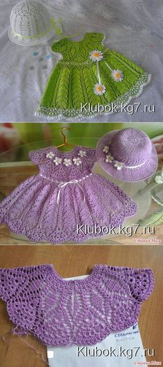 Dress for Ludmila (author Natalya Grigoryeva (Afanaskin)) Zig Zag Crochet, Crochet Baby Dress Pattern, Crochet Slipper Pattern, Baby Girl Crochet, Crochet Baby Clothes, Crochet Baby Hats, Crochet For Kids, Baby Knitting, Crochet Stitches Patterns