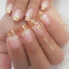 37 Trendy Nails French Tip With Design Glitter Art Ideas Fabulous Nails, Perfect Nails, Gorgeous Nails, Pink Nails, Toe Nails, Romantic Nails, Bride Nails, Finger Nail Art, Nagellack Trends