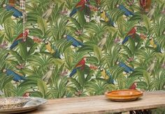 Wallpapers for dining rooms #diningroomwallpapers #diningroomgreenwallpaper #greenwallpaper #diningroomnaturestyle